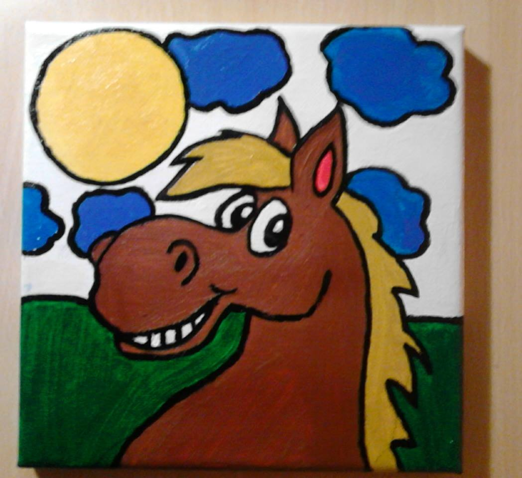 """1/1/2016 """"Kůň"""" 20x20cm/Plátno, akryl, lak"""
